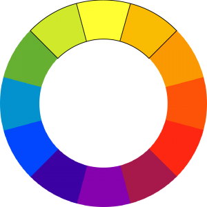colorwheel with yellow-green, yellow, and orange-yellow outlined