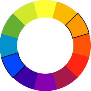 color wheel with blue and orange outlined
