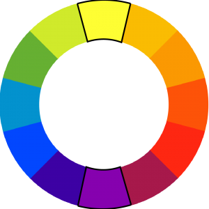 color wheel with yellow and purple outlined