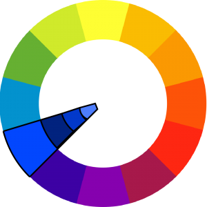 colorwheel with blue outlined, and a slice extends inward to show darker and lighter shades of blue