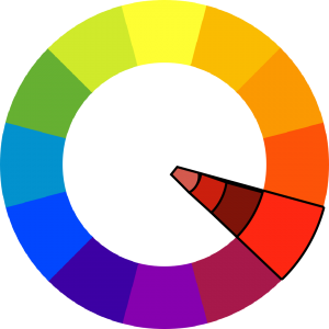 colorwheel with red outlined, and a slice extends inward to show darker and lighter shades of red