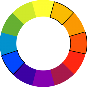 colorwheel with blue, red-orange, and yellow-orange outlined