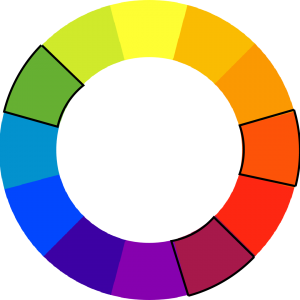 colorwheel with green, red-orange, and red-purple outlined