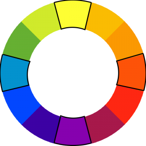 colorwheel with yellow, red-orange, purple, and light-blue outlined