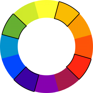 colorwheel with green, yellow-orange, red, and dark blue outlined