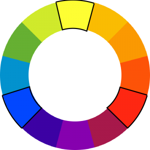 color wheel with blue, yellow, and red outlined